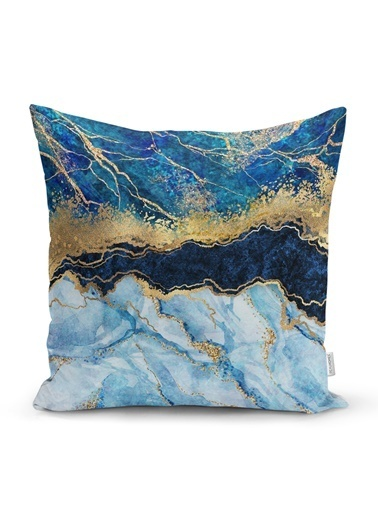 Real Homes Altın Varaklı Mavi Zeminli Modern Yastık Kırlent Kılıfı Renkli